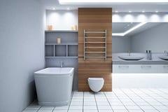 Interno di legno contemporaneo del bagno illustrazione di stock