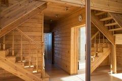 Interno di legno di corridoio Fotografia Stock