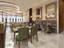 Interno di lusso accogliente del ristorante, posto pranzante moderno comodo, fondo contemporaneo di progettazione illustrazione vettoriale