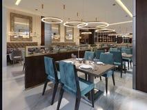 Interno di lusso accogliente del ristorante, posto pranzante moderno comodo, fondo contemporaneo di progettazione royalty illustrazione gratis