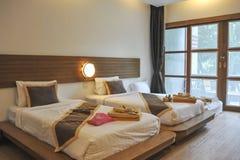 Interno di lusso della camera da letto Fotografia Stock