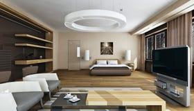 Interno di lusso della camera da letto nella luce del giorno Immagine Stock