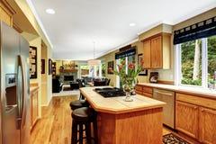 Interno di lusso della casa Stanza della cucina Immagini Stock Libere da Diritti