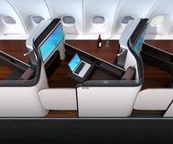 Interno di lusso della serie del Business class Computer portatile collegato al monitor da Wi-Fi illustrazione di stock