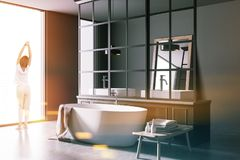 Interno di lusso grigio del bagno, vista di angolo tonificata Immagini Stock