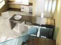 Interno di lusso moderno della sala da pranzo in appartamento Immagine Stock