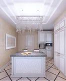 Interno di nuova cucina bianca con i gabinetti modello-anteriori Fotografia Stock Libera da Diritti