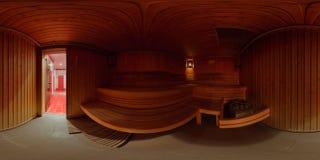Interno di panorama 360 il bagno di sauna Fotografia Stock Libera da Diritti