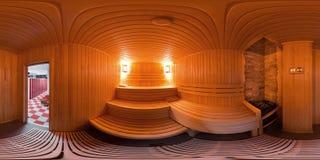 Interno di panorama 360 il bagno di sauna Fotografie Stock