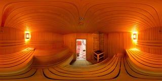 Interno di panorama 360 il bagno di sauna Fotografie Stock Libere da Diritti