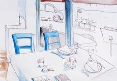 Interno di piccolo ristorante con il disegno originale a delle grandi finestre illustrazione di stock