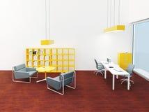 Interno di piccolo ufficio moderno luminoso Immagine Stock