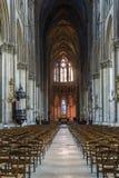 Interno di Reims della cattedrale Fotografie Stock