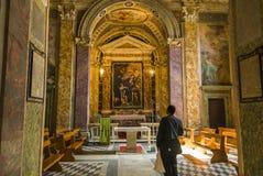 Interno di Roma della chiesa di Santa Barbara Immagini Stock Libere da Diritti