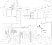 Interno di schizzo di vettore della cucina della facciata Immagine Stock