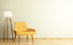 Interno di stanza con la rappresentazione della lampada di pavimento e della poltrona 3d Immagini Stock Libere da Diritti