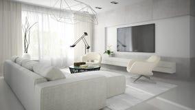 Interno di stanza moderna alla moda con il sofà bianco 3D che rende 2 Fotografie Stock