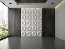 Interno di stanza vuota con il pannello di parete 3D che rende 3 Immagine Stock Libera da Diritti