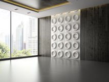 Interno di stanza vuota con il pannello di parete 3D che rende 2 Immagini Stock