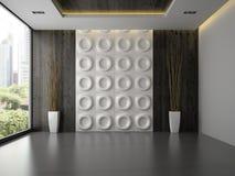 Interno di stanza vuota con il pannello di parete e la rappresentazione dei rami 3D Immagine Stock