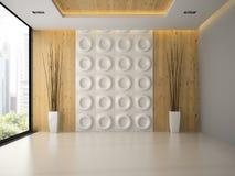 Interno di stanza vuota con il pannello di parete e la rappresentazione dei rami 3D Fotografie Stock