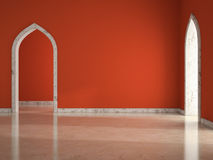 Interno di stanza vuota con l'illustrazione rossa della parete 3D Fotografia Stock