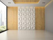 Interno di stanza vuota con la rappresentazione del pannello di parete 3D Immagini Stock