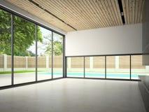 Interno di stanza vuota con la rappresentazione della piscina 3D Fotografie Stock Libere da Diritti