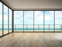 Interno di stanza vuota con la rappresentazione di vista 3D del mare Immagini Stock