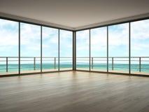 Interno di stanza vuota con la rappresentazione di vista 3D del mare Immagine Stock
