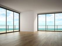 Interno di stanza vuota con la rappresentazione di vista 3D del mare Immagini Stock Libere da Diritti