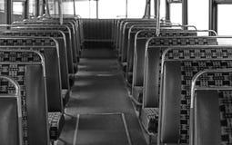 Interno di un bus d'annata del leopardo del leyland fotografia stock libera da diritti