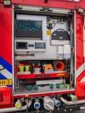 Interno di un camion dei vigili del fuoco olandese moderno Immagine Stock Libera da Diritti