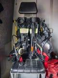 Interno di un camion dei vigili del fuoco olandese moderno Fotografie Stock Libere da Diritti