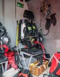 Interno di un camion dei vigili del fuoco olandese moderno Immagini Stock Libere da Diritti