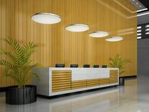 Interno di un'illustrazione di ricezione 3D dell'hotel Fotografia Stock Libera da Diritti