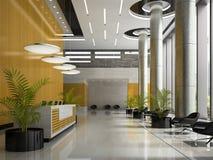 Interno di un'illustrazione di ricezione 3D dell'hotel Fotografie Stock