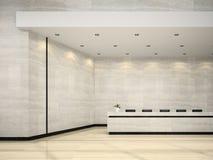Interno di un'illustrazione di ricezione 3D dell'hotel Fotografie Stock Libere da Diritti