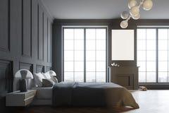 Interno di un lato alla moda nero della camera da letto principale illustrazione vettoriale