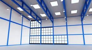 Interno di un magazzino vuoto con la costruzione blu di colore Immagine Stock Libera da Diritti