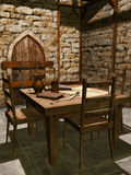Interno di un posto di guardia medievale Fotografie Stock Libere da Diritti