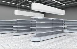 Interno di un supermercato con gli scaffali per le merci illustrazione 3D Fotografie Stock