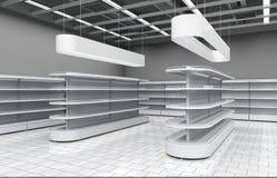 Interno di un supermercato con gli scaffali per le merci illustrazione 3D Immagini Stock