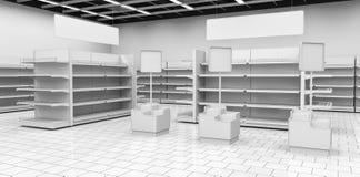 Interno di un supermercato con gli scaffali per le merci illustrazione 3D Immagine Stock Libera da Diritti