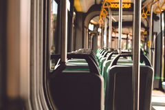 Interno di un tram di Leopoli Fotografie Stock Libere da Diritti