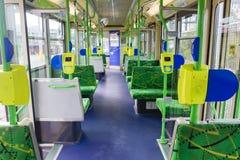 Interno di un tram vuoto a Melbourne Fotografia Stock