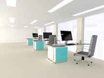 Interno di un ufficio minimalista moderno luminoso Fotografia Stock