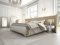 Interno di una camera da letto classica di stile nel lusso Immagini Stock Libere da Diritti