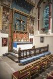 Interno di una cappella con incorniciatura di legno Fotografia Stock Libera da Diritti