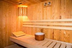Interno di una sauna domestica immagine stock libera da diritti